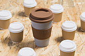 Various disposable cups of hot takeaway drinks