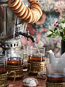Samovar with tea, served with Russian baranki