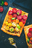 Puff pastry with tomatoes
