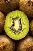 Closeup of sliced kiwi