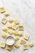 Homemade Ravioli and a little bowl of flour