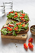 Bruschetta with rocket and tomatoes