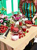 Still life with strawberry jams