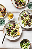 Couscous salad with roasted mushrooms and cucumber