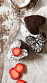 Heart shaped brownies with strawberries