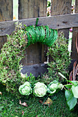 Moss wreath with Brussels sprouts