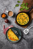 Kurkuma-Omelett mit Kimchi