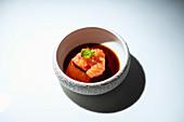 Raw salmon sashimi with soy sauce
