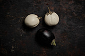 Dark and white eggplants