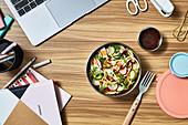 Noodle salad work setting