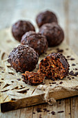 Rum balls made from leftover cake with chocolate and coconut oil