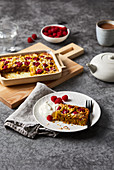 Oat and coconut slice with raspberries