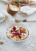 Coconut oatmeal with raspberries