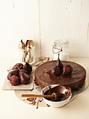 Chocolate spice cake with poached red wine pears