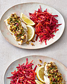 Crispy fish with raw vegetable salad