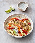 Rice bowl with sesame salmon and goat's milk yoghurt