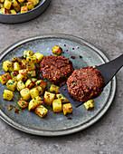 Veggie meatballs with roast kohlrabi