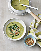 Courgette soup with cannellini beans and buckwheat
