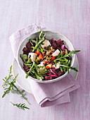Vegan beetroot and legume bowl with marinated tofu