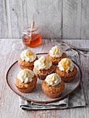 Potato-almond cupcakes with lemon frosting