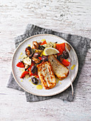 Roast vegetables with honey-lemon dressing and halloumi