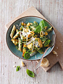 Pasta with chicken and lemon basil sauce