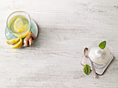 Lemon ginger syrup, lemon ginger granité
