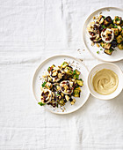 Aubergines with Hummus and Thyme Goat's Cheese