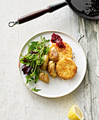 'Viennese style' vegan celery schnitzel with fried potatoes