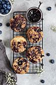 Vegan blueberry muffins with cinnamon sprinkles