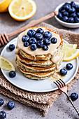 Lemon poppy seed pancakes with blueberries (vegan)