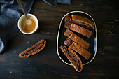 Biscotti with jam filling served with coffee