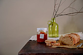 Oat and spelt bread on a rustic wooden table