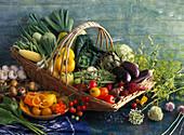 Basket with different kinds of vegetables