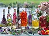 Still life with different kinds of flower vinegar