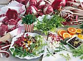 Radicchio salad with blood oranges, olives, feta cheese