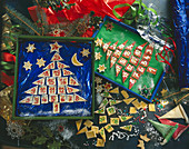 Baked advent calendars in the shape of Christmas trees