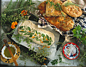 Baking focaccia with herbs