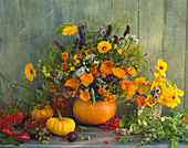 Bouquet of marigold, hyssops, nasturtium, fennel, marigolds and rowan berries