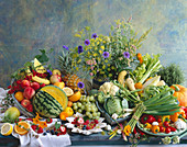 Still life with many different kinds of fruits and vegetables