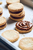 Sweet sandwich cookies with cream caramel
