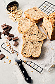 Bread pieces with chocolate and almond flakes