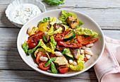Vegetable salad with roast vegetables and white beans