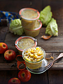 Preserved wine cabbage with apples in jars