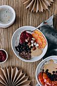 Healthy winter porridge bowl