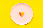 Heart shaped jelly candy on plate