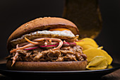 Pulled pork hamburger with vegetables, fried egg and potato chips