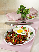 Thai mince dish with fried egg