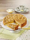 Yellow plum crumble cake