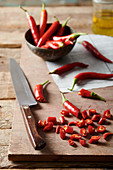 Chopping red chillies